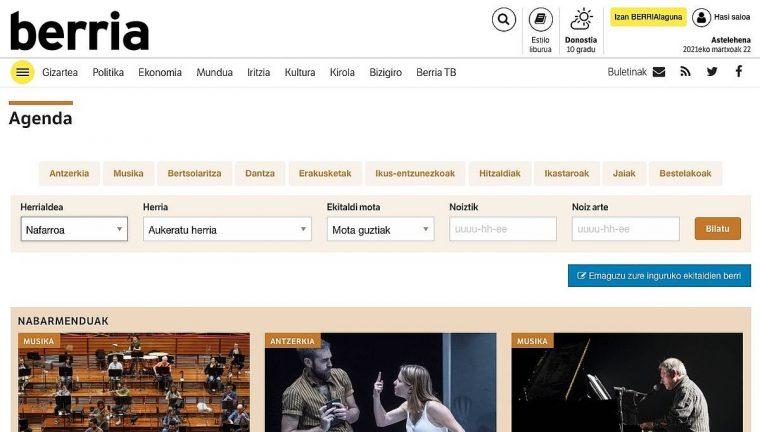 Euskal Herriko kultur agenda berritu du BERRIAk, sarean